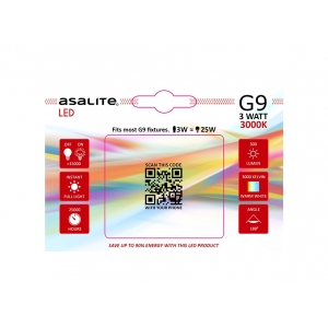ASALITE BEC LED G9 3W 3000K 300 LUMEN