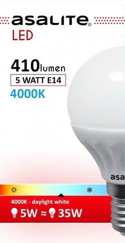 ASALITE BEC LED MINI GLOB 5W E14 4000K 410 LUMEN